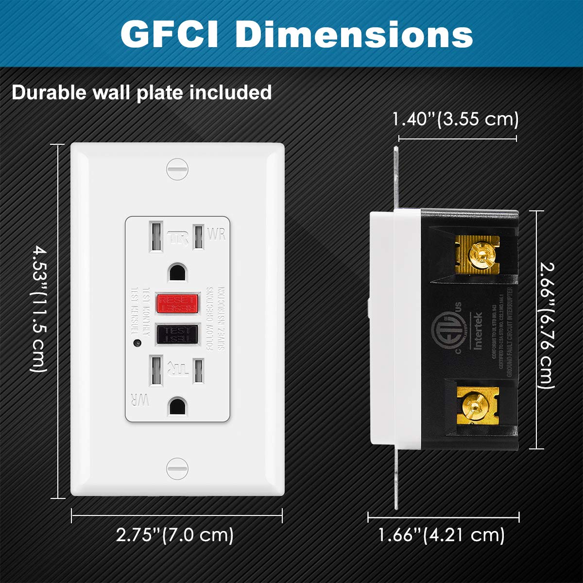 (10 Pack) UNIELE GFCI Receptacle Outlet, 15A/125V, Weather-Resistant (WR) & Tamper-Resistant(TR) Ground Fault Circuit Interrupter Outlets, Wallplate Included, White: Industrial & Scientific