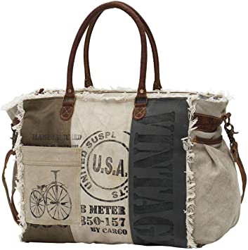 Amazon Com Myra Bags Usa Stamped Upcycled Canvas Weekender Bag M 0751 New markdowns on designer handbags and purses from tory burch. myra bags usa stamped upcycled canvas weekender bag m 0751