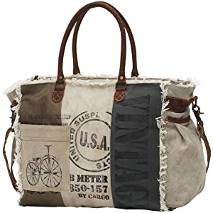 Myra Bags USA Stamped Upcycled Canvas Weekender Bag M-0751 faac4589425cb
