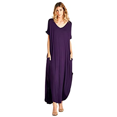 12 Ami Solid V-Neck Pocket Short Sleeve Loose Maxi Dress (S-3X) - Made in USA at Women's Clothing store