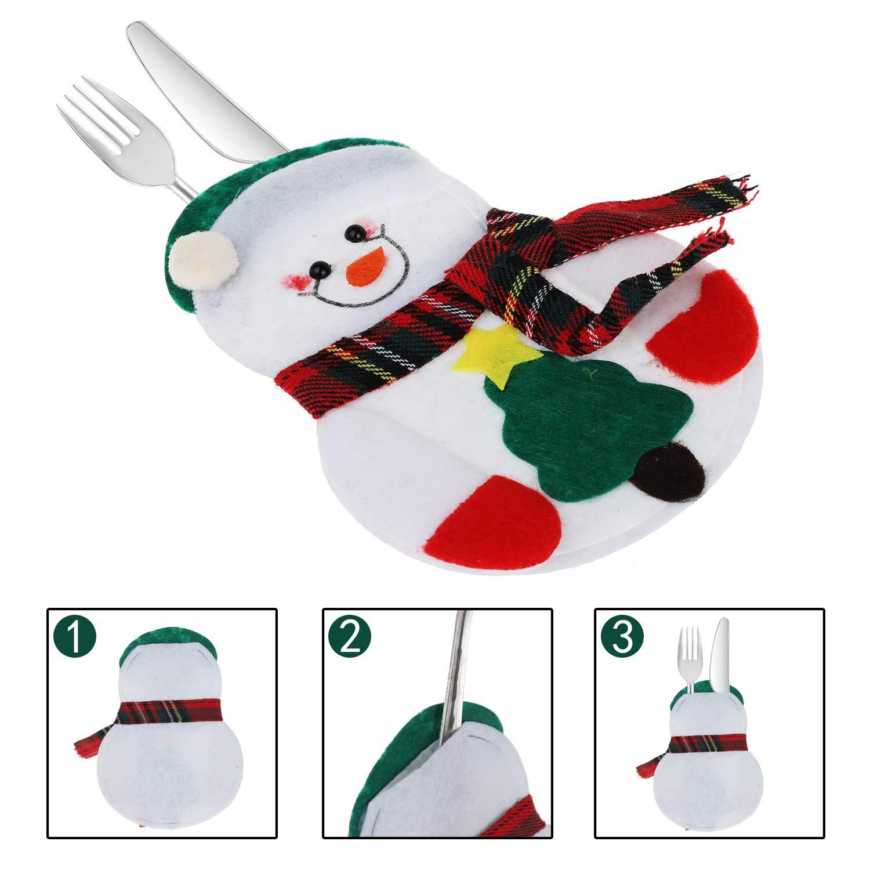 Annhao Portaposate Natalizie 12 Pezzi Set Portaposate Natalizie da Babbo Natale Tasche Posate per Forchetta Cucchiaio Decorazione della Tavolo di Natale 4 Stili