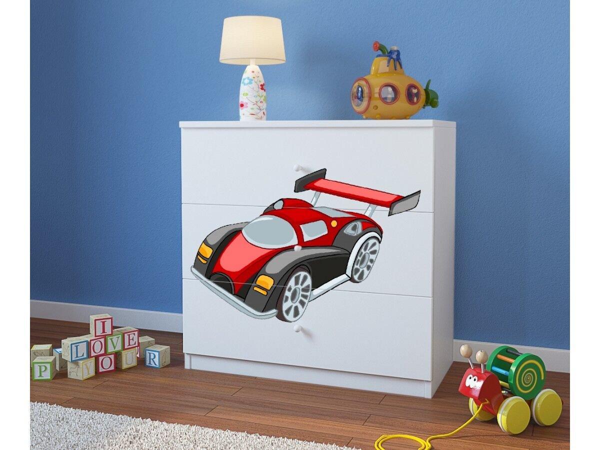 CARELLIA 'Kommode Kinder Auto Running 3 Schubladen – Weiß