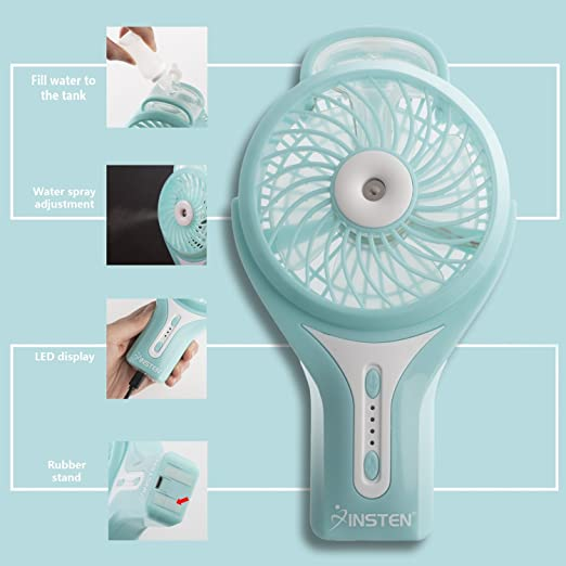 Amazon.com: Insten Portable Handheld USB Mini Misting Fan With Personal  Cooling Humidifier, Rechargeable Battery U0026 Water Spray Fan For Music  Festival, ...