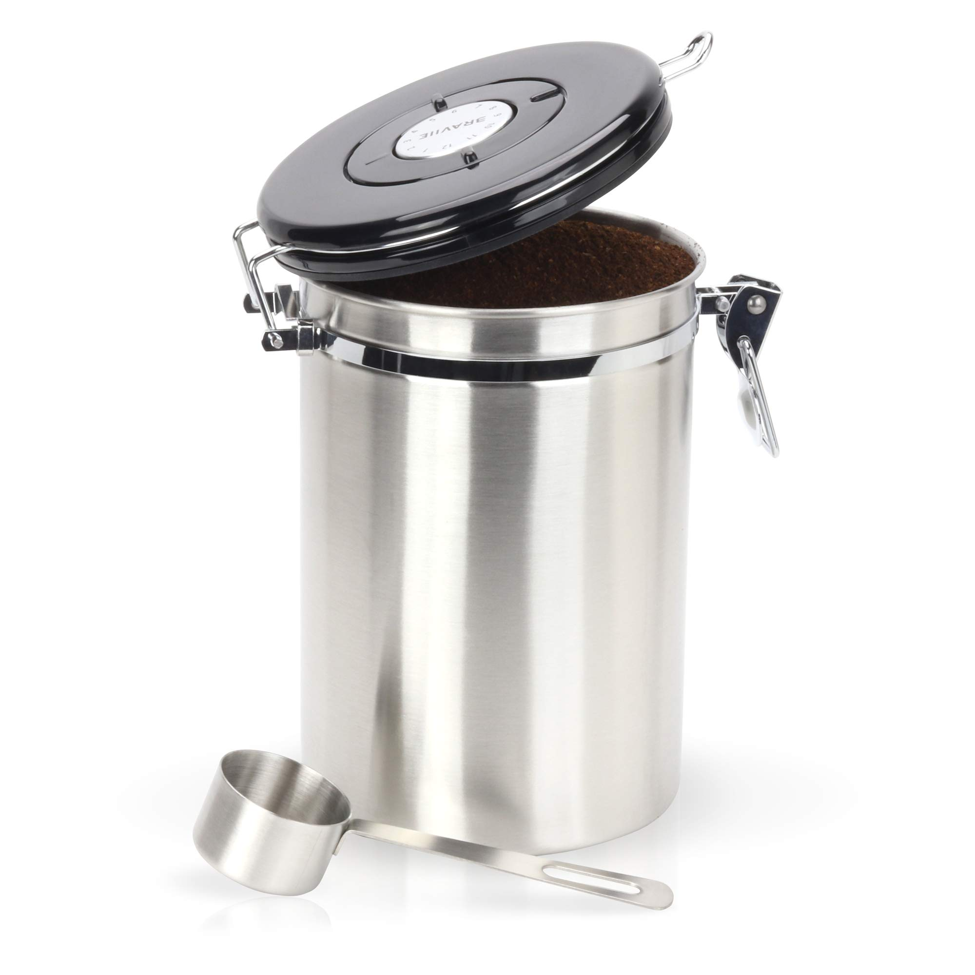 Gorgeous Coffee Canister - Stainless Steel Storage Container with Scoop - Keeps Your Coffee Airtight Fresh and Flavorful by Braviie