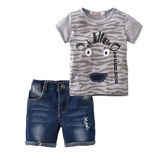 1d2e95eba6 Summer Little Boys Outfit 2 Pieces Zebra Pattern Short Sleeve T-Shirt Tops  Cowboy Shorts