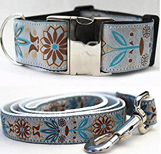 "product image for Diva-Dog 'Boho Morocco' 2"" Extra Wide Custom Dog Collar - Plain or Engraved Buckle, Matching Leash Available - LG, XL"