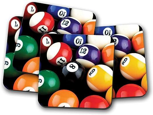 Juego de 4 posavasos de bolas de billar impresionantes, 8 bolas de ...
