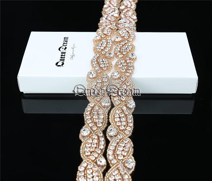 QueenDream - Cinturón de boda de imitación de diamantes de imitación de oro rosa: Amazon.es: Hogar