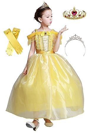 68cdc2f929ee1 (eones)美女と野獣 風 ベルドレス ロング プリンセスドレス キッズ 子供用 ふんわり しっかり
