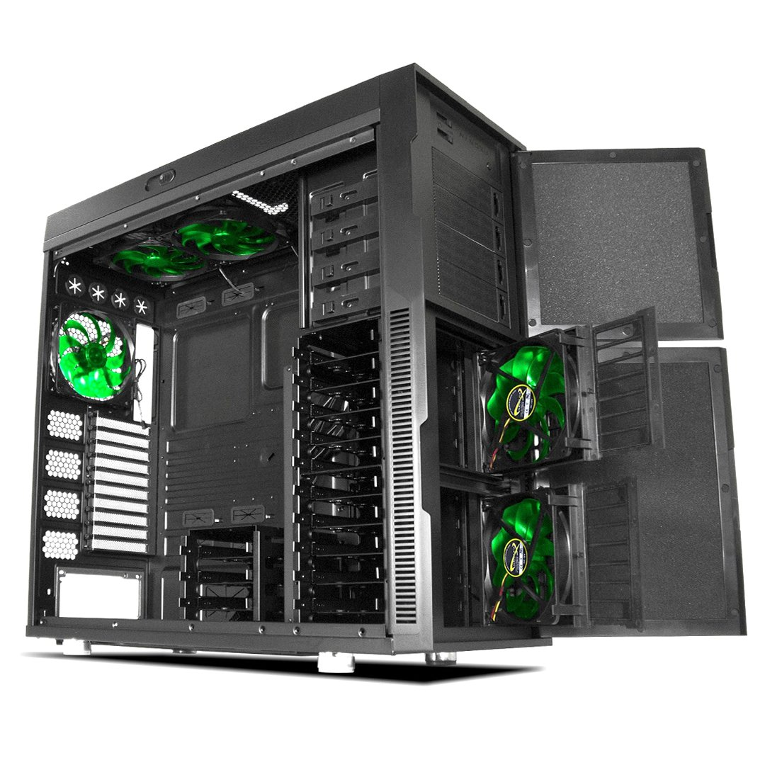 Nanoxia Deep Silence 6 Rev. B Gigantic Big/Full Tower Computer Case with 8 Fan Controllers, Fits HPTX Motherboard and 360mm Radiators, 61.1 Pounds, Black (NXDS6B)
