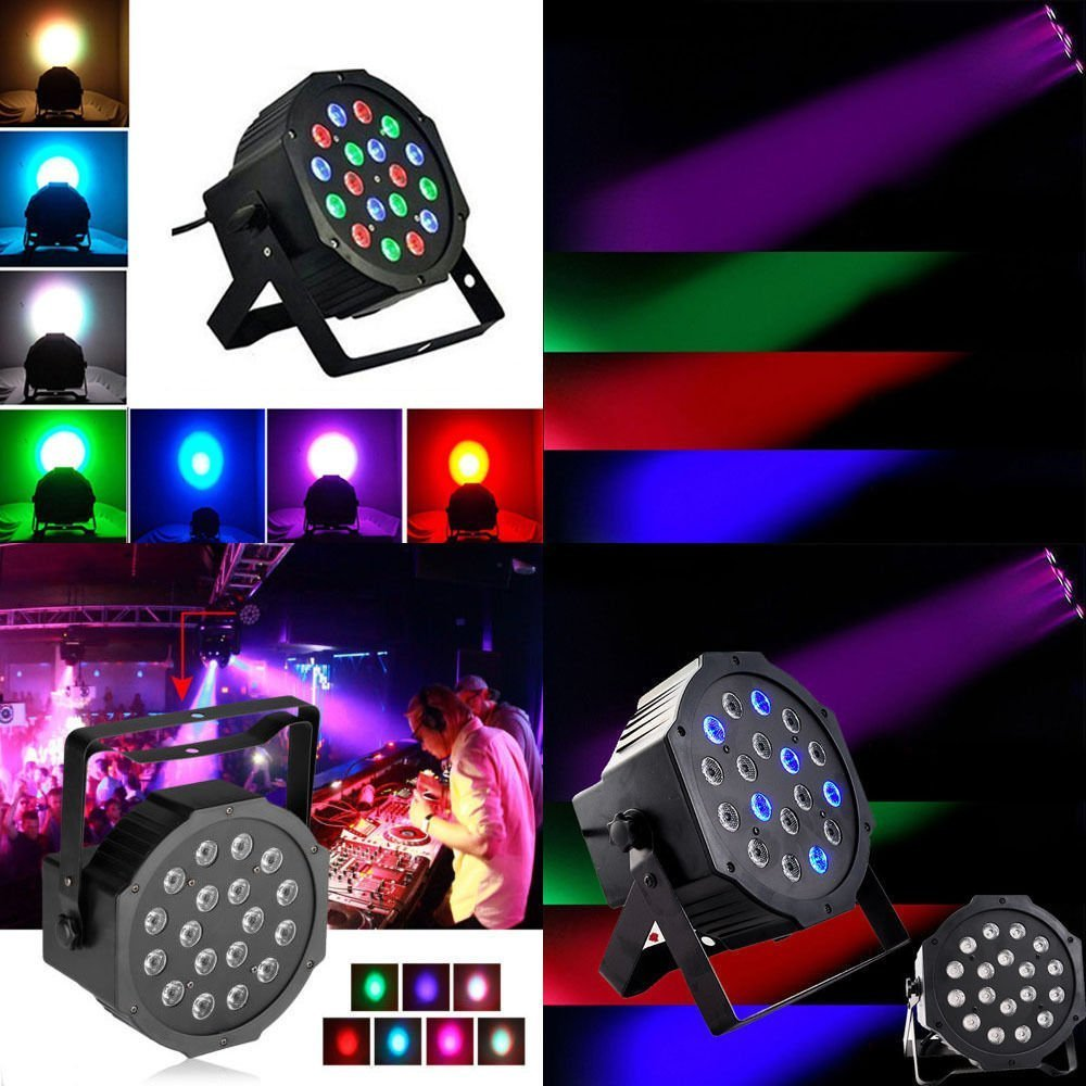 Amazon led par lights blusmart 24w 18 led disco lights with amazon led par lights blusmart 24w 18 led disco lights with music activated auto run and dmx512 control mode different colors combinations of red arubaitofo Gallery