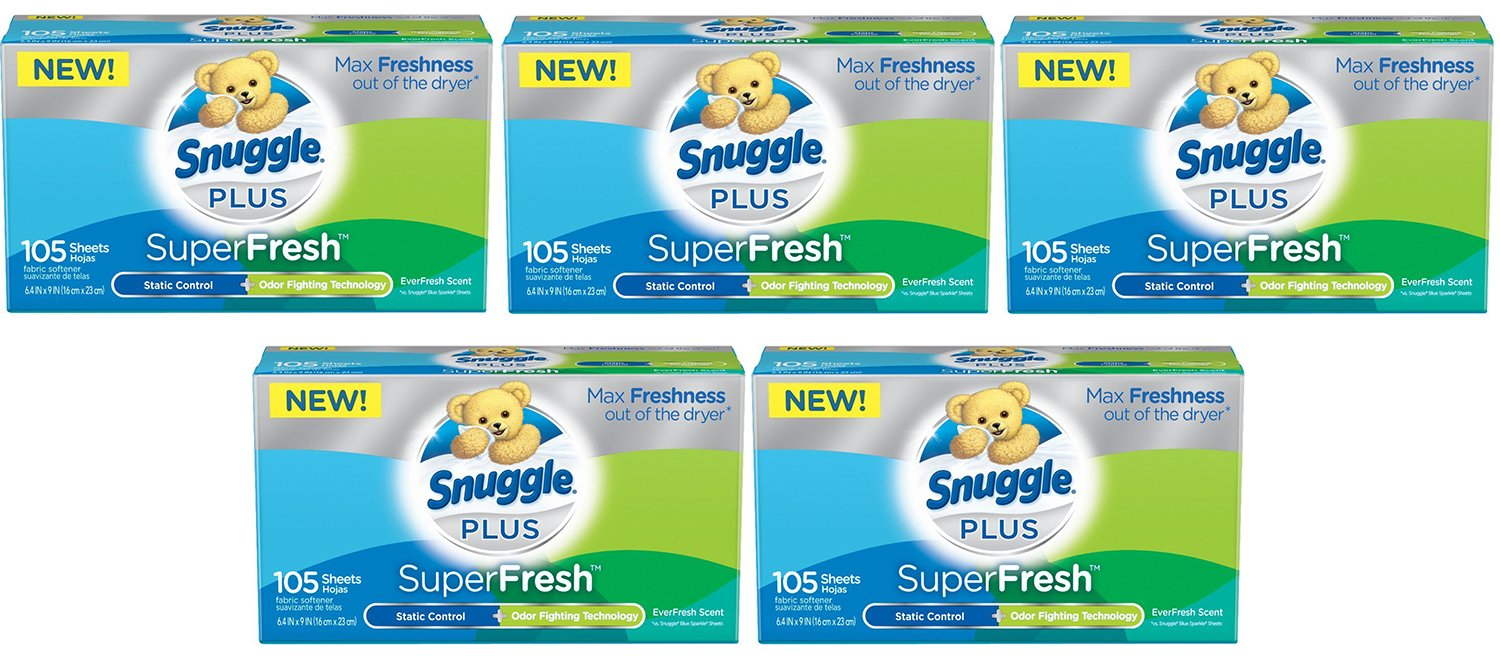 Snuggle Plus DrEuk Super Fresh Fabric Softener Dryer Sheets with Odor Fighting Ingredients, 105 Count (5 Pack)