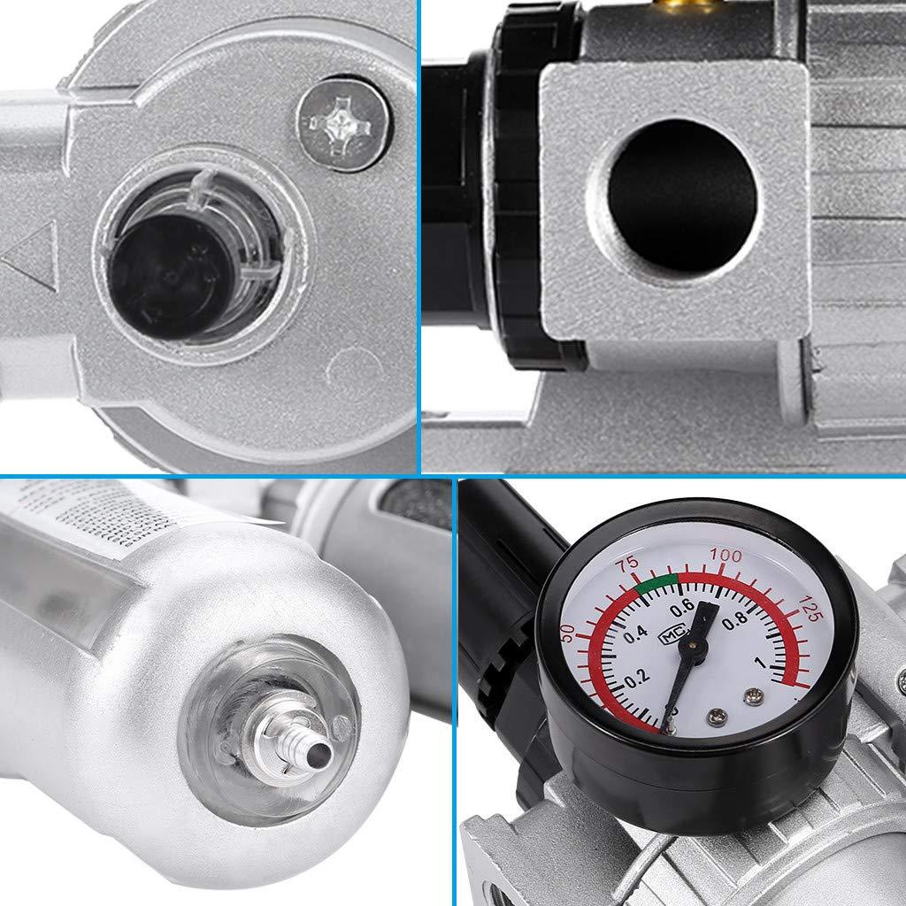 Homefami 1//2 Oil Water Separator Air Filter Regulator Trap Filter with//Regulator Gauge
