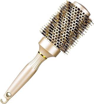 Brosse ronde de cheveux pour le séchage de coup, redressage chaud professionnel et Brosse de coiffage ventilée avec poils de sanglier pour les cheveux