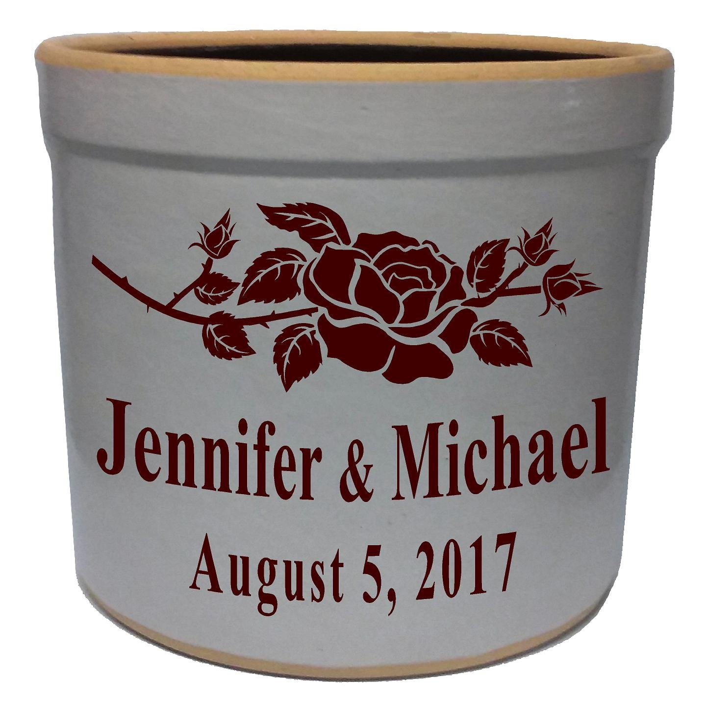 3 Gallon Personalized Stoneware Crock - Rose