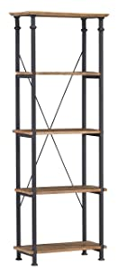 Homelegance Factory 4-Teir Bookcase, Rustic Brown