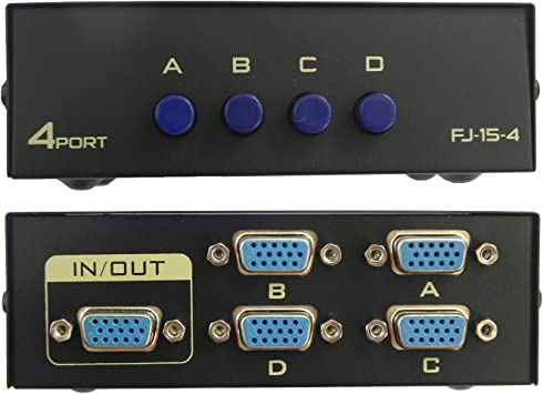 VGA Switch Splitter 4In 2Out Hub Support 1920x1440 Button Switching Function