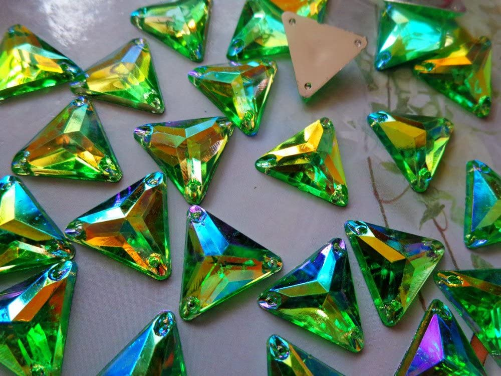 100pcs14mm Triangle Shape Gem Stones red Sew on Rhinestones Green Crystals Flatback Dress Accessory