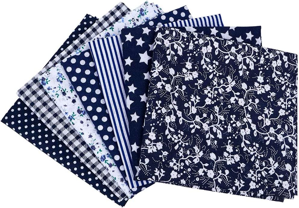 """7PCS 20"""" x 20"""" Squares Floral Cotton Craft Fabric DIY Mask Making Supplies Quilting Sewing Patchwork Fat Quarter Bundles for Cushions Face Cover Scrapbooking Art Craft (Navy Blue)"""