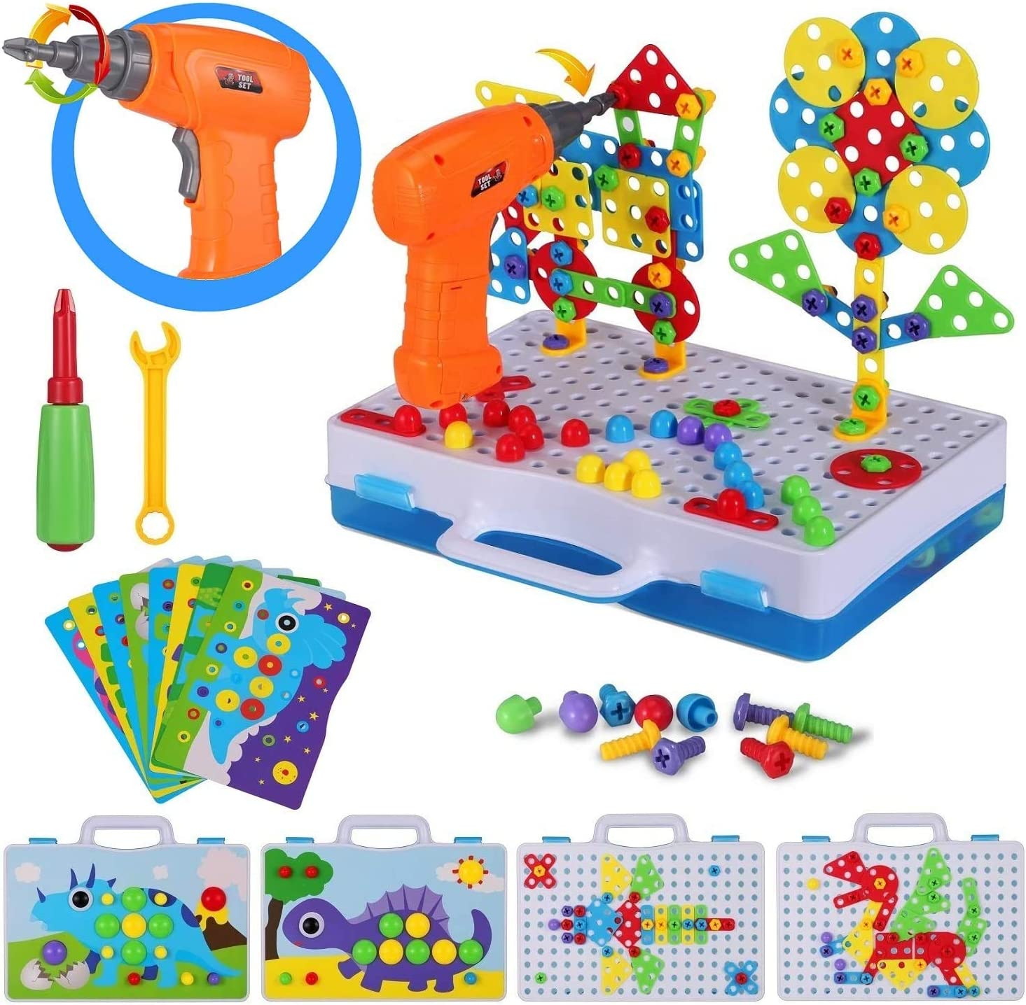 Pcs Electric DIY Mosaic Drill Puzzle Kit Creative Building Blocks Construction Game Tool Kit 245 STEM Educational Toy for Boy and Girl 5 6 7 8 9 10 Year Old