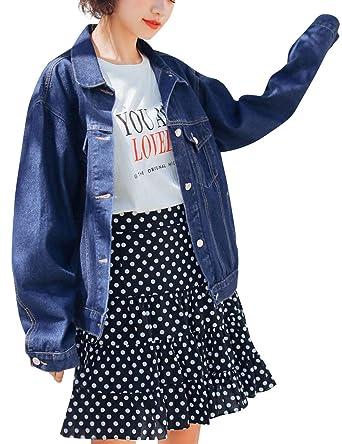 25dba1d124ac2 KAMA BRIDAL Women s Boyfriend Denim Jackets Long Sleeve Oversized Loose Jean  Coat Deep Blue S