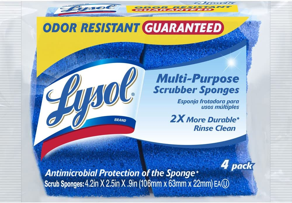 Lysol Multi-Purpose Durable Scrub Sponge, 4-pack