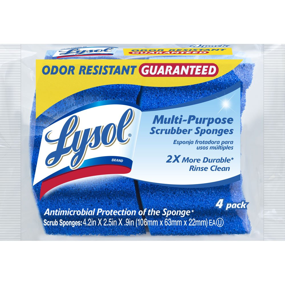 Lysol Multi-Purpose Durable Scrub Sponge, 4-pack Quickie 57506-4PDQ-10 dishes clean