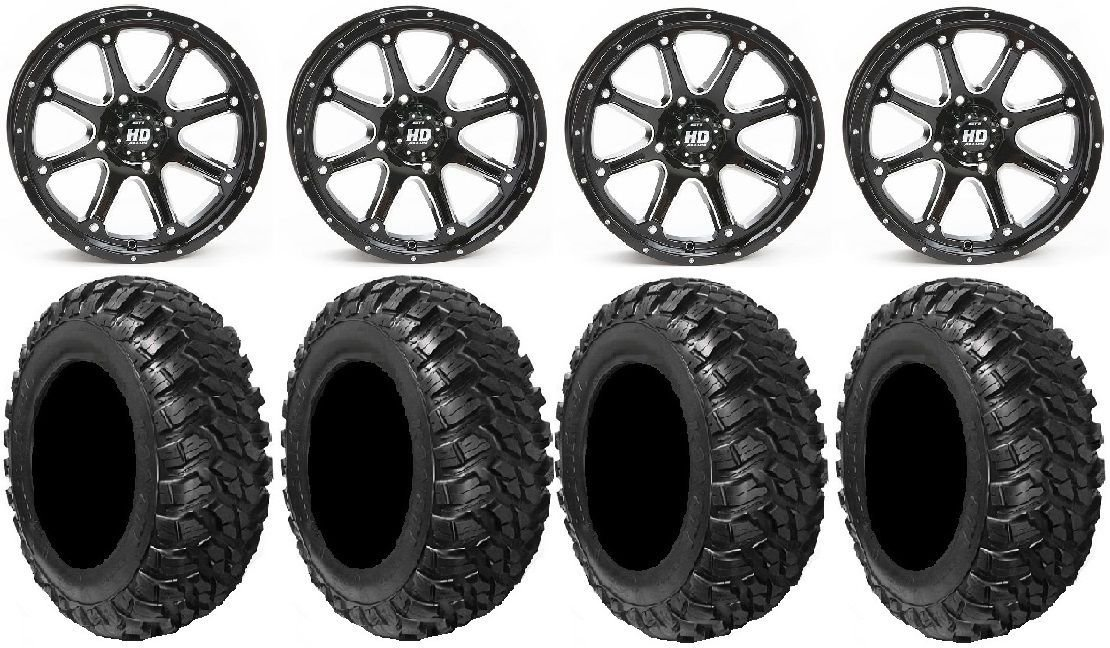 Bundle - 9 Items: STI HD4 14'' Wheels Black 28'' Kanati Mongrel Tires [4x137 Bolt Pattern 12mmx1.25 Lug Kit]