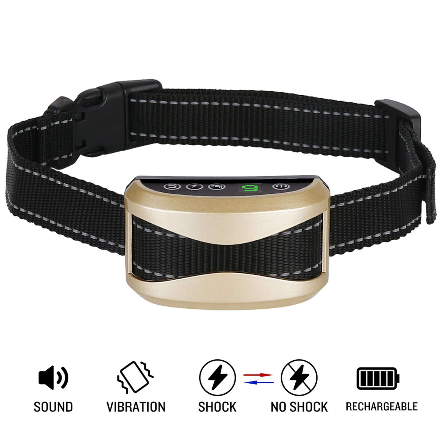 Casfuy Bark Collar Upgrade 7 Sensitivity Rechargeable Humane Dog No Bark Collar with Vibration and No Harm Shock for Small Medium Large Dog