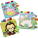 Bontip Fabric Baby Cloth Books Non-Toxic Activity Crinkle Soft Book Early Educational Toys for Toddler Infants and Kids - Perfect for Baby Shower Gifts (Pack of 3)