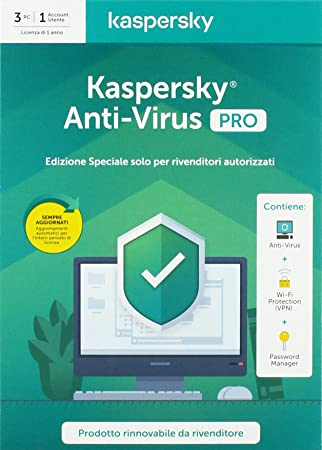 KASPERSKYY ANTIVIRUS PRO 2020 3 USER KL1171T5CFS-20SLIMPRO ...