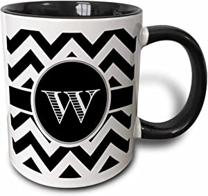 3dRose Black And White Chevron Monogram Initial W Mug, 11 oz