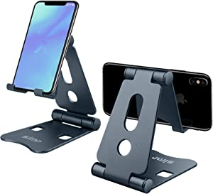 Adjustable Phone Stand - Simr S8 Cell Phone Holder, Foldable Desktop Cradle Dock Compatible with iPhone 11 Pro Xr Xs Max X 8 7 6 Plus iPad Mini Samsung Huawei Nintendo Switch (Gun-Black)