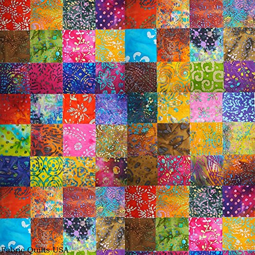 "Batik Fabric by Batik Quilts USA – Beautiful 100 Squares Stash, Precut 5"" Precision Cut, Straight Edge, Indonesian JAVA Batiks Quilting Fabric Cotton Smoke Free Pet Free – 100% SATISFACTION (Fat Amy Costume)"
