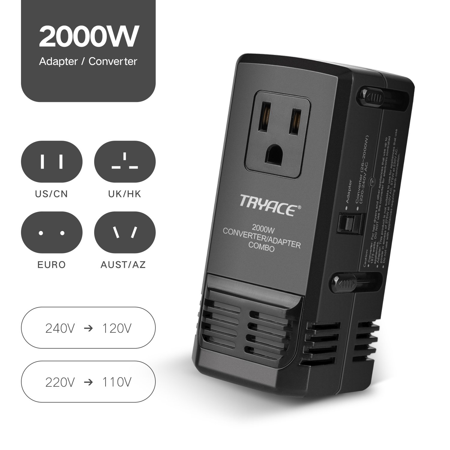 TryAce 2000W Worldwide Travel Converter and Adapter Set Down Voltage 240V to 110V Combo International Voltage Converter for Hair Dryer Phones Laptop All in One Plug Adapter Wall Charge for UK/AU/US/EU