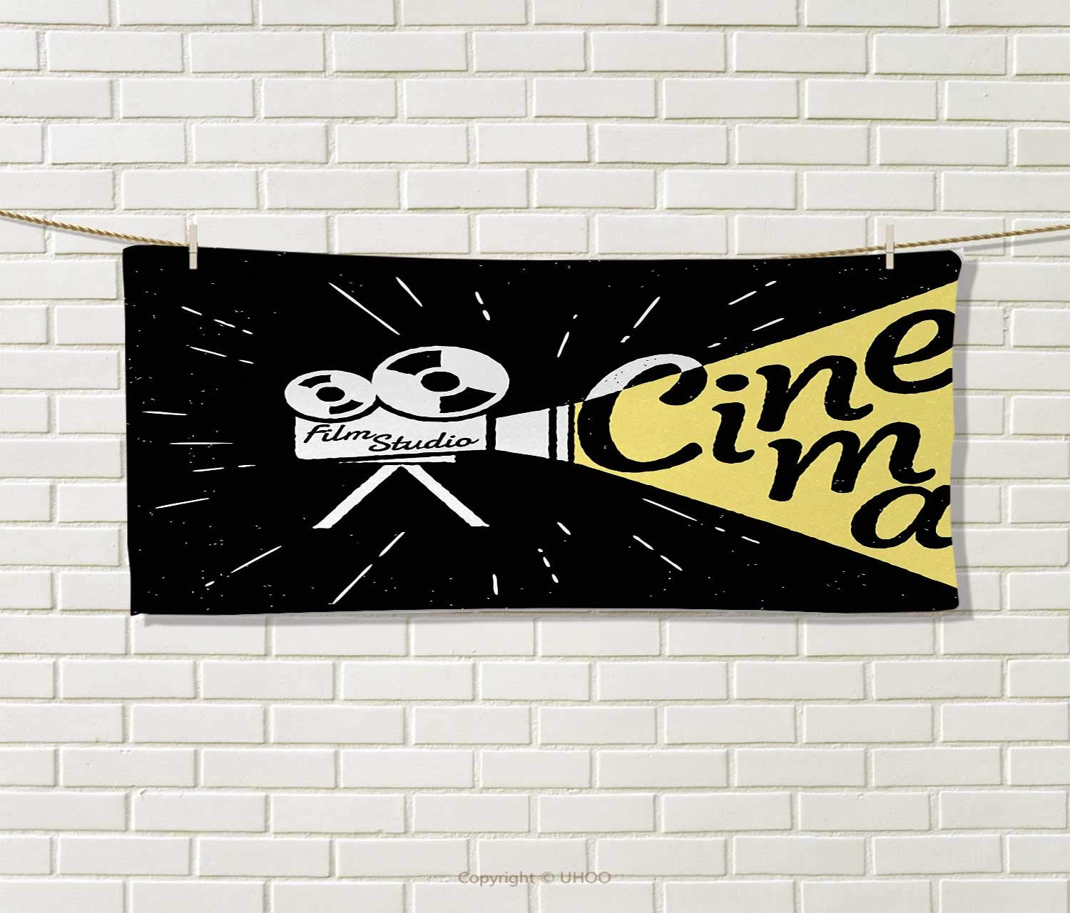Anniutwo Movie Theater,Sports Ttowel,Movie Projector Sketch Grunge Cinema Lettering on Black Backdrop,Absorbent Towel,Yellow Black White Size: W 12'' x L 35.5''