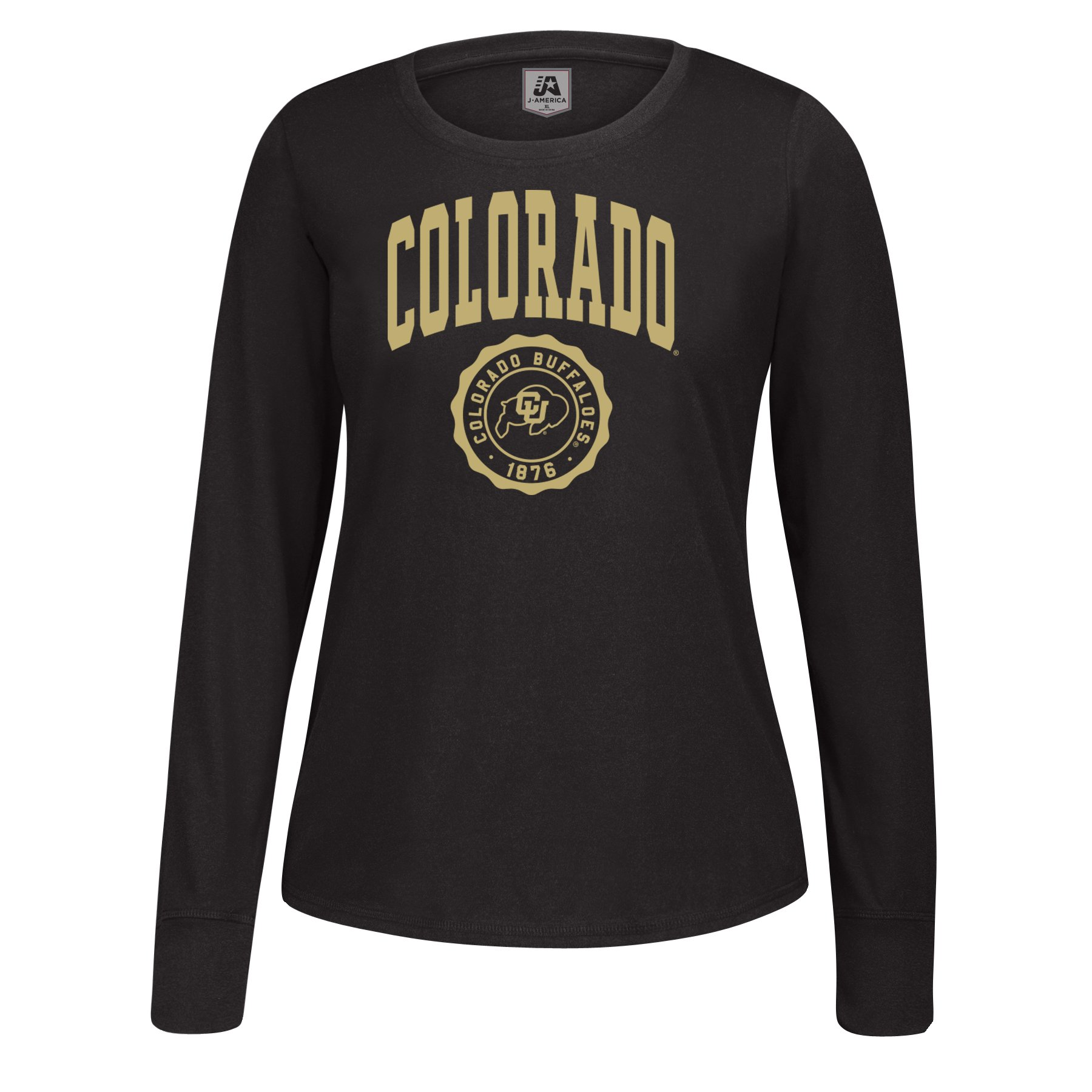 J America NCAA Colorado Buffaloes Women's Athletic Seal Long Sleeve Essential Tee, Small, Black