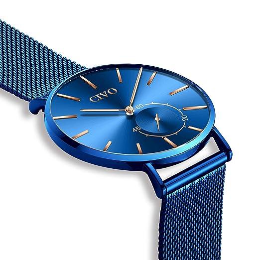 59f4c49599d5 CIVO Relojes de Hombre Lujo Impermeable Ultra Fino Reloj de Acero Inoxidable  Minimalista Moda Deportivo Casuales Clásico Negocios Relojes de Pulsera  para ...