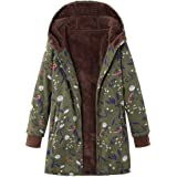 TITAP S-5XL Womens Winter Warm Outwear Floral Print Hooded Pockets Vintage Oversize Coats Pink