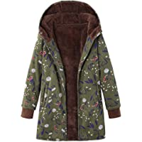 TITAP S-5XL Womens Winter Warm Outwear Floral Print Hooded Pockets Vintage Oversize Coats