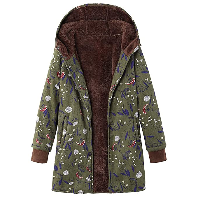 cc65e39694f TITAP S-5XL Womens Winter Warm Outwear Floral Print Hooded Pockets Vintage  Oversize Coats (