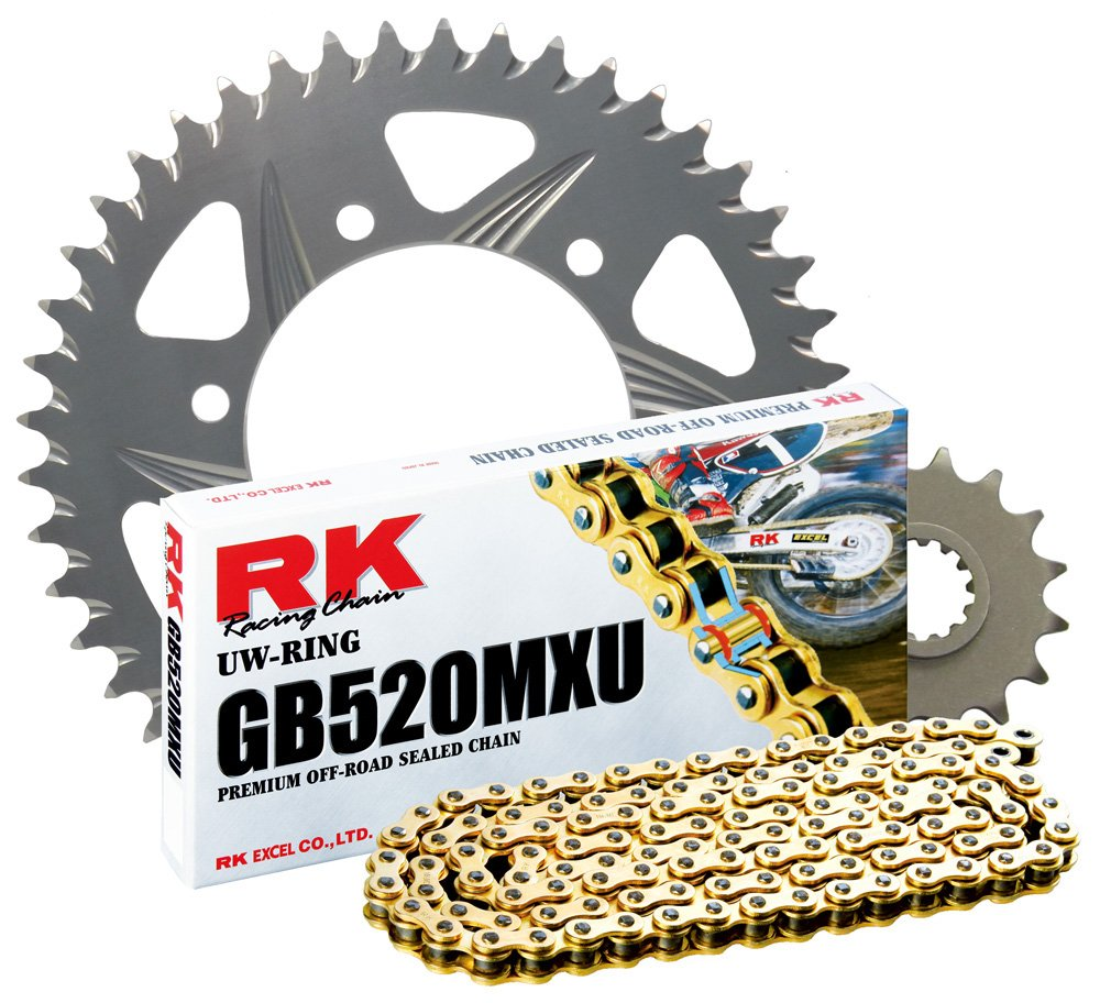 RK Racing Chain 3042-057ZG Silver Aluminum Rear Sprocket and GB520MXU Chain Race Kit