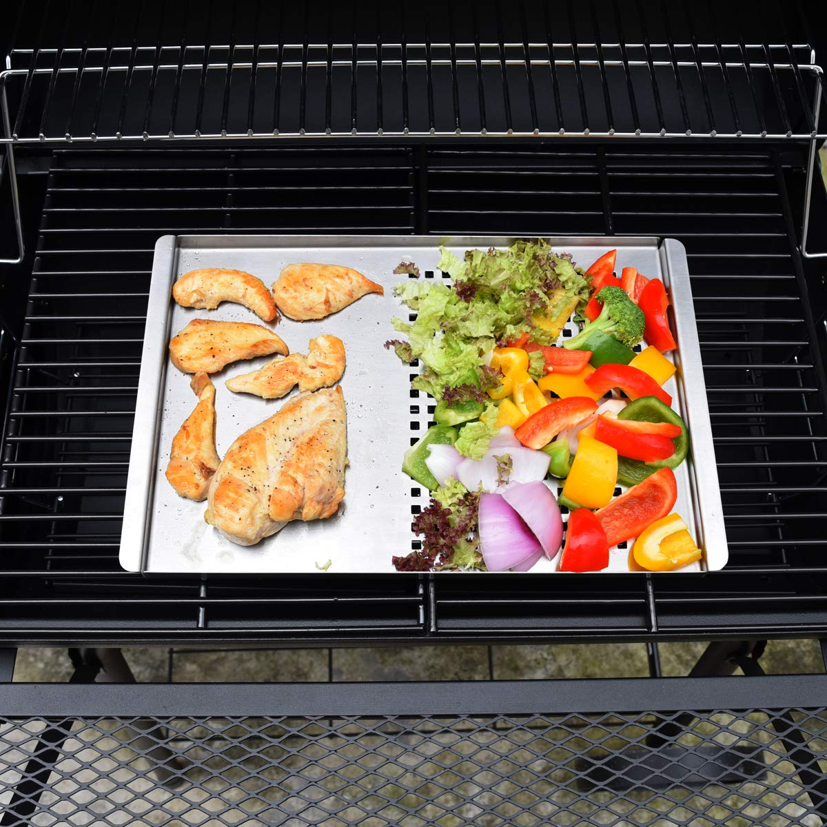 Stainless Steel Grill Pan, CMYK Non Stick Frying BBQ Grill Plate, Barbecue Grills Outdoor Cooking Accessories Rectangular, Grilling Gifts For Men