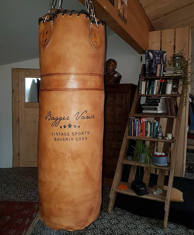 Heavy Duty Vierpunkt-Stahlkette I Punching Bag in Leder Optik gef/üllt//ungef/üllt Retro Boxsack inkl