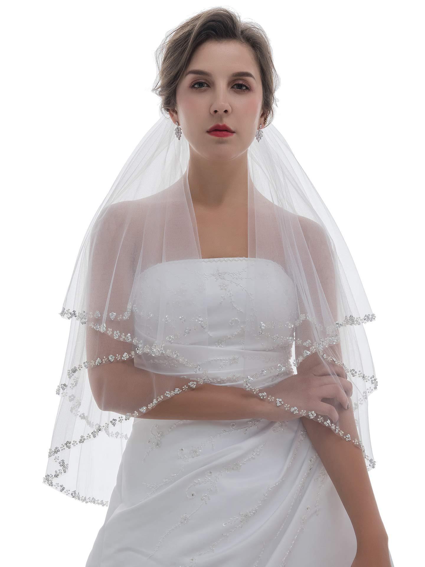 2T 2 Tier Pearls Silver Beaded Wedding Veil - Ivory Elbow Length 30'' V415 by SAMKY