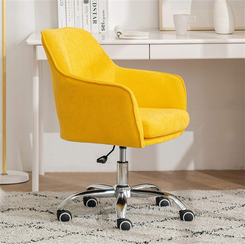 LYJBD rullande svängbar stol, dator skrivbordsstol, sammetstyg och nylonfotdesign, tjock kudde dyna flexibel för verkställande, formning, spel eller kontor gUL