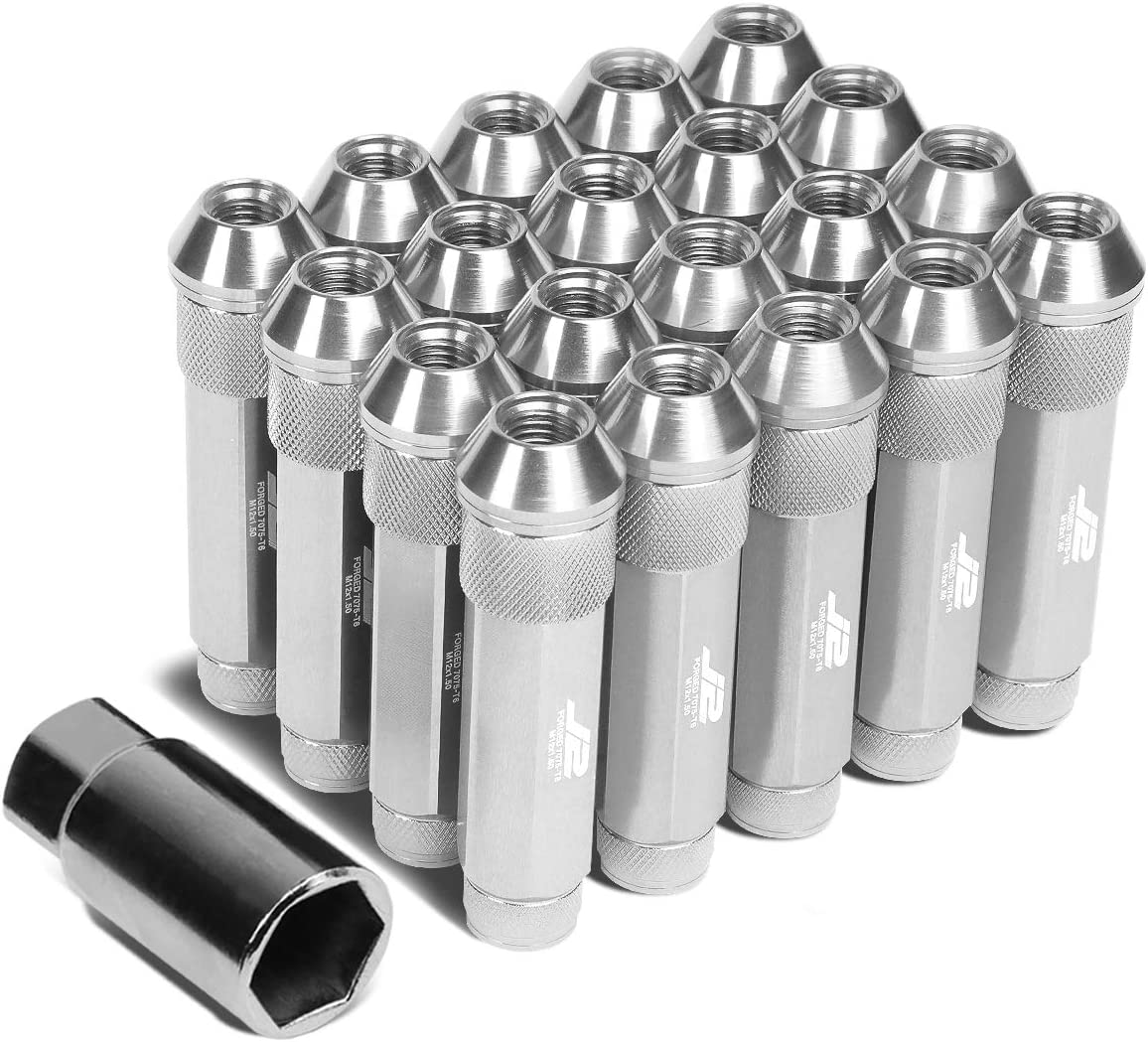90mm 20x Lug Nut 1x Key J2 Engineering LN-T7-027-15-SL 7075 Aluminum M12 x 1.5 25mm OD