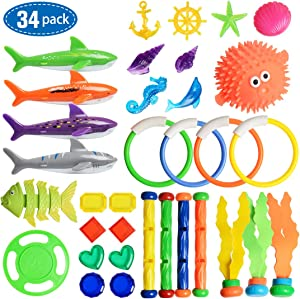 Umikk 34 PCS Dive Toys, Pool Toys, Swimming Toys Set, Diving Gems, Diving Rings, Diving Sticks, Diving Sharks, Diving Fish, Diving Seaweeds, Diving UFO, Floating Blowfish,Underwater Games for Kids