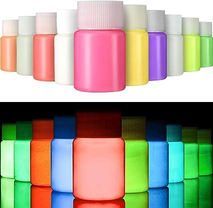 Gejoy 10 Piezas de Pintura UV para Tela, El Papel y la Pared Brillan en la Oscuridad, Set Fluorescente para Ropa, Carrera Nocturna, Fiesta de Brillo ...