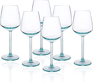14-ounce Unbreakable Acrylic Stem Wine Glasses, set of 6-Teal, Red or White Wine Glass, Dishwasher Safe, BPA Free